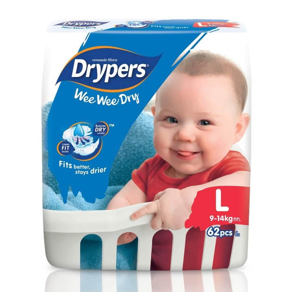 Drypers Wee Wee Dry Size L 62 Pcs Pack