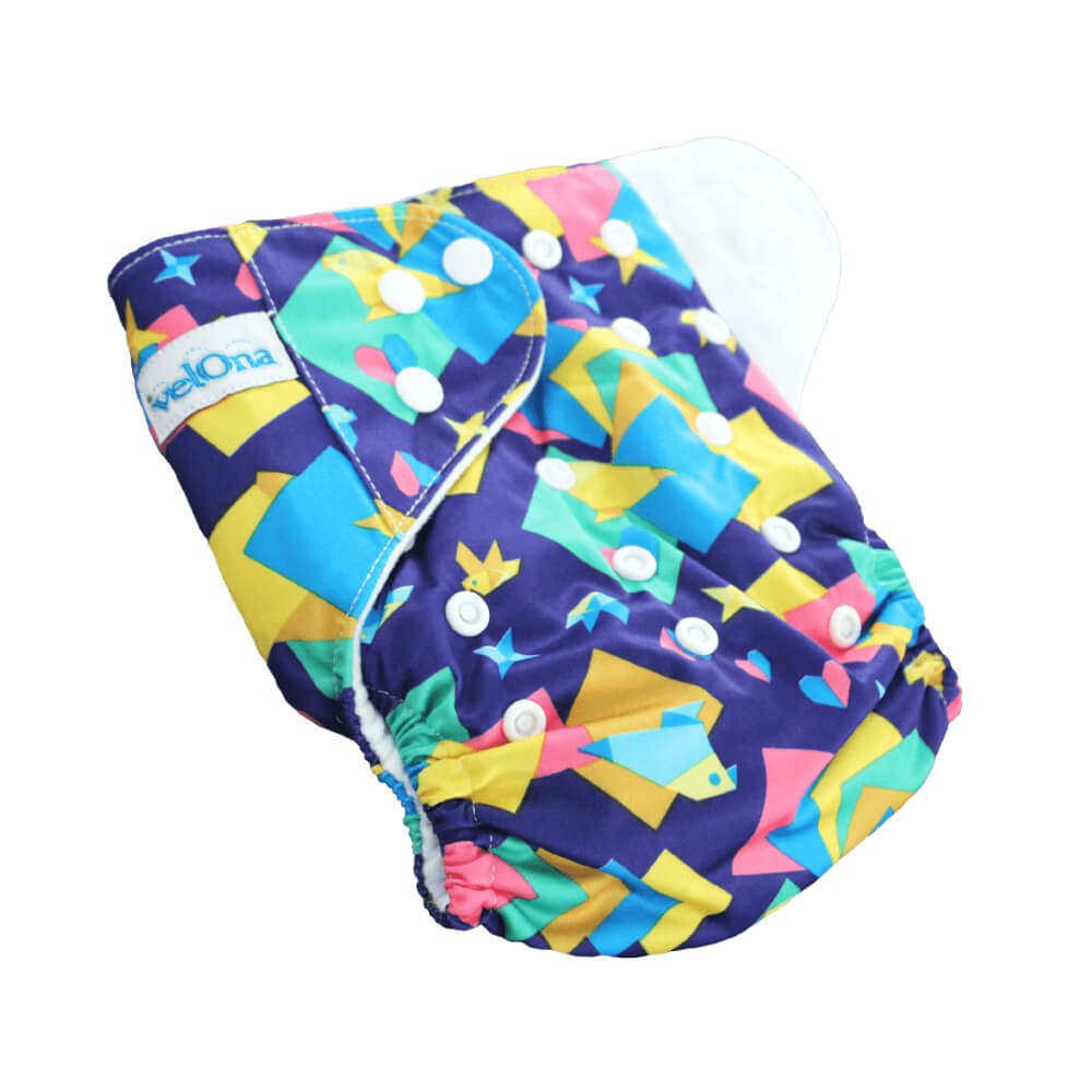 Velona Reusable Cloth Diaper - Colorful Abstracts - Free Size