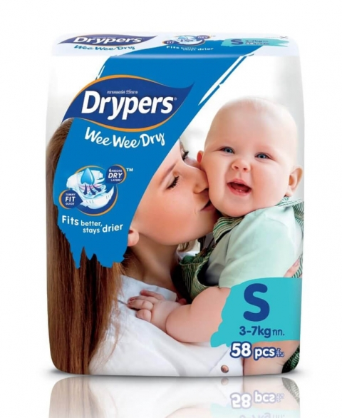 Drypers Wee Wee Dry Size S 58 Pcs Pack