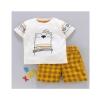 Printed T Shirt and Yellow & Black Short